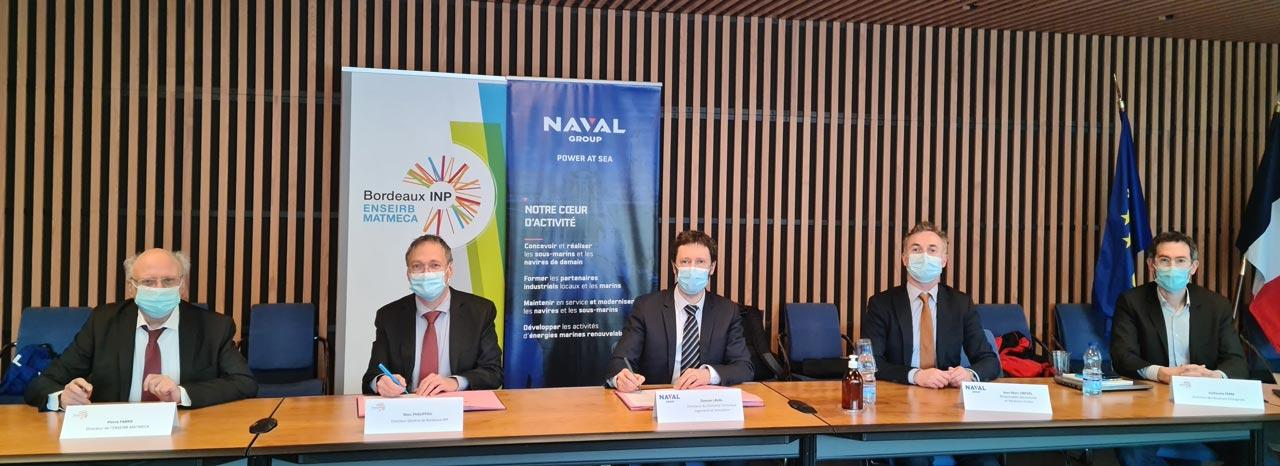 Signature d'une convention de partenariat Naval Group - ENSEIRB-MATMECA