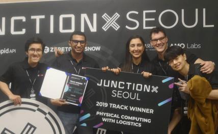 """Bravo à Sara Chaoufi, élève-ingénieure en filière Électronique à l'ENSEIRB-MATMECA, qui a remporté la 1ère édition internationale du """"JunctionX Hackathon"""" à Séoull"""